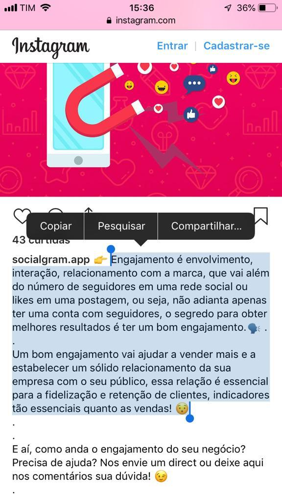 Como copiar texto do Instagram 03